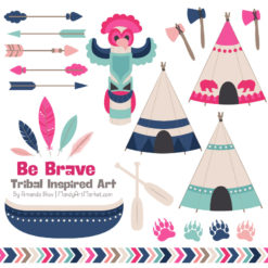 Navy & Hot Pink Tribal Clipart