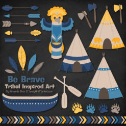 Navy & Lemon Tribal Clipart