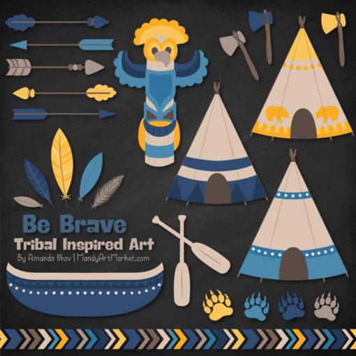 Navy & Lemon Tribal Clipart