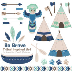Navy & Mint Tribal Clipart