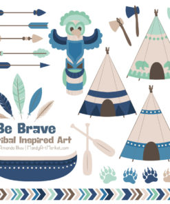 Navy & Mint Tribal Clipart