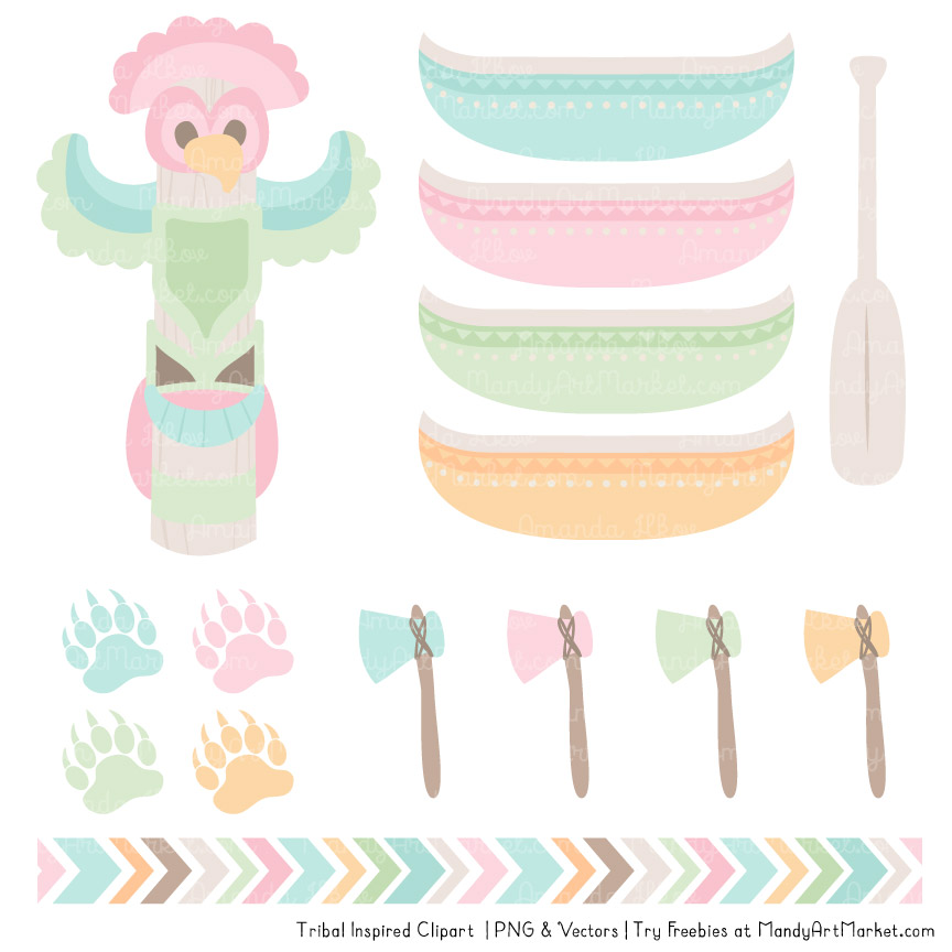 Pastel Tribal Clipart