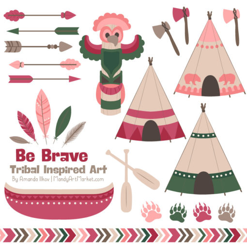 Rose Garden Tribal Clipart