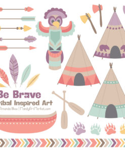 Vintage Girl Tribal Clipart
