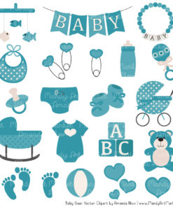 Vintage Blue Baby Clipart