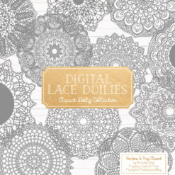 Grey Lace Doily Vector Clipart