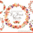 Pretty Antique Peach Floral Wreath Clipart