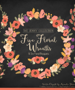 Round Floral Wreaths Clipart in Antique Peach