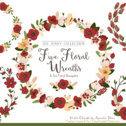 Pretty Christmas Floral Wreath Clipart