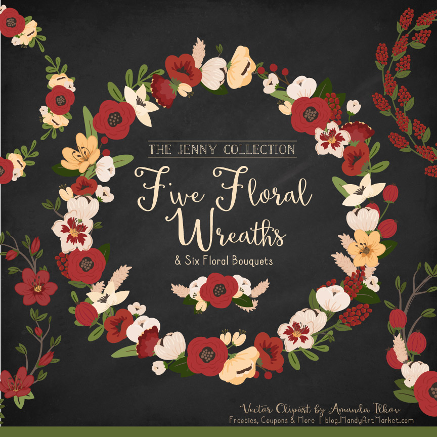 Christmas Jenny Pretty Floral Wreath Clipart Vectors