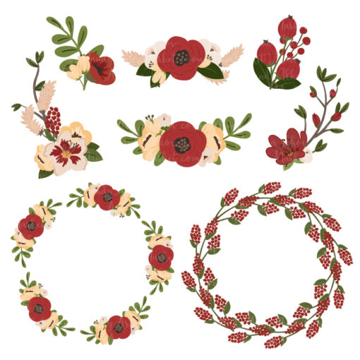 Round Floral Wreaths Clipart in Christmas