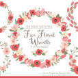 Pretty Mint & Coral Floral Wreath Clipart