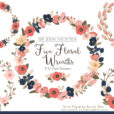 Pretty Navy & Blush Floral Wreath Clipart
