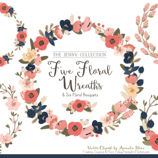 Round Floral Wreaths Clipart in Navy & Blush