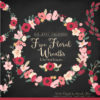 Round Floral Wreaths Clipart in Rose Garden