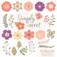Antique Peach Flower Clipart