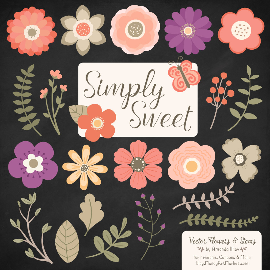 Antique Peach Cute Flower Clipart