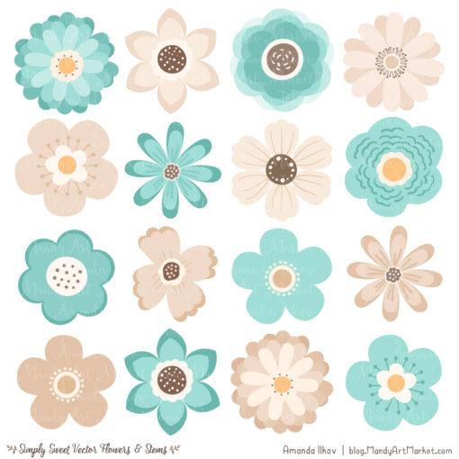 Aqua Cute Flower Clipart