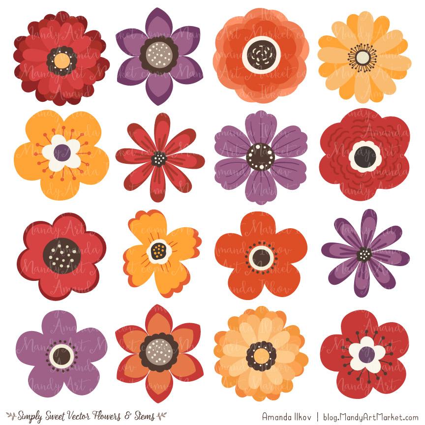 autumn flower clipart vectors rh mandyartmarket com cute flower clipart wallpaper cute pink flower clipart