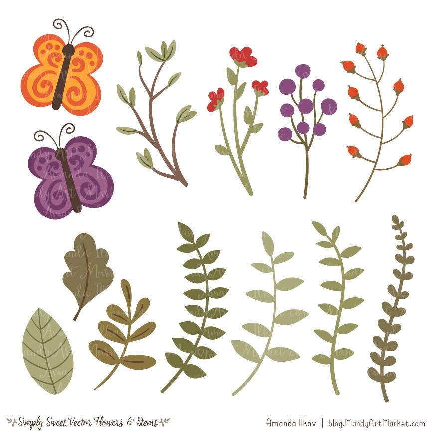 Autumn Cute Flower Clipart