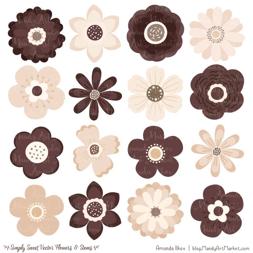 Chocolate Cute Flower Clipart