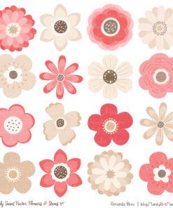 Coral Cute Flower Clipart