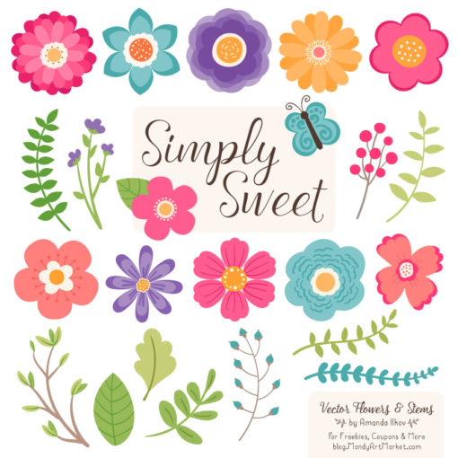 Crayon Box Cute Flower Clipart