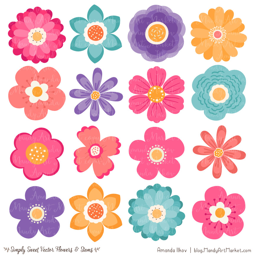 crayon box flower clipart vectors rh mandyartmarket com cute flowers clip art cute flower pot clipart