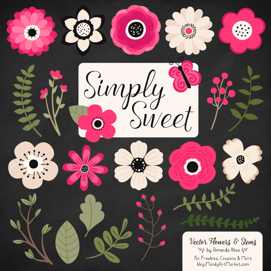 Hot Pink Cute Flower Clipart