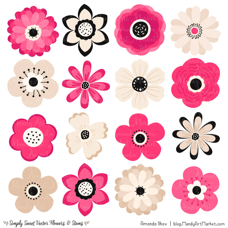 Hot pink flower clipart vectors hot pink cute flower clipart mightylinksfo