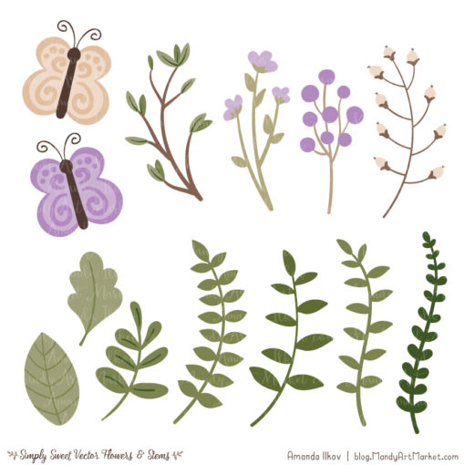 Lavender Cute Flower Clipart