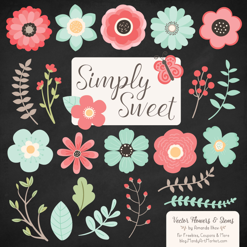 Mint & Coral Cute Flower Clipart