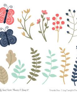 Modern Chic Cute Flower Clipart
