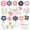 Navy & Blush Cute Flower Clipart