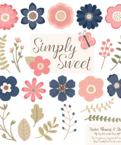 Navy & Blush Cute Flower Clipart