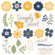 Navy & Lemon Flower Clipart