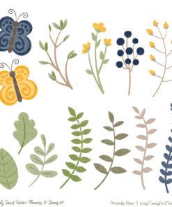 Navy & Lemon Cute Flower Clipart