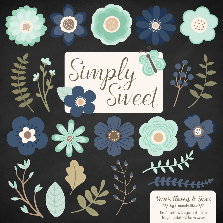Navy & Mint Cute Flower Clipart
