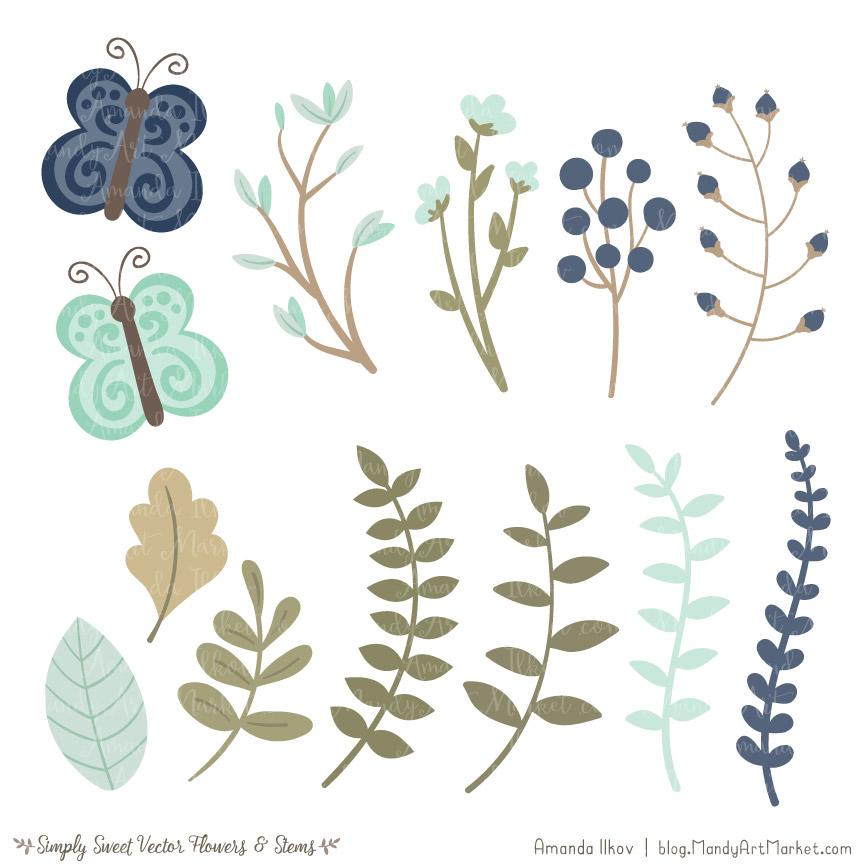 Navy & Mint Cute Flower Clipart