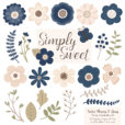 Navy Flower Clipart