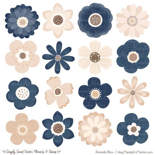 Navy Cute Flower Clipart