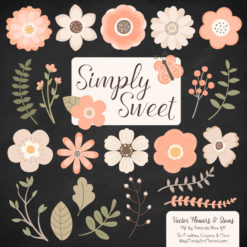 Peach Cute Flower Clipart