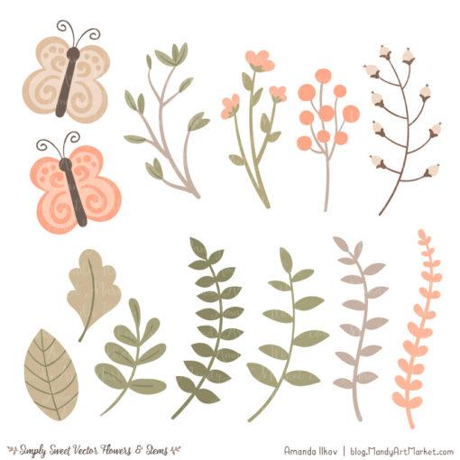 Peach Cute Flower Clipart