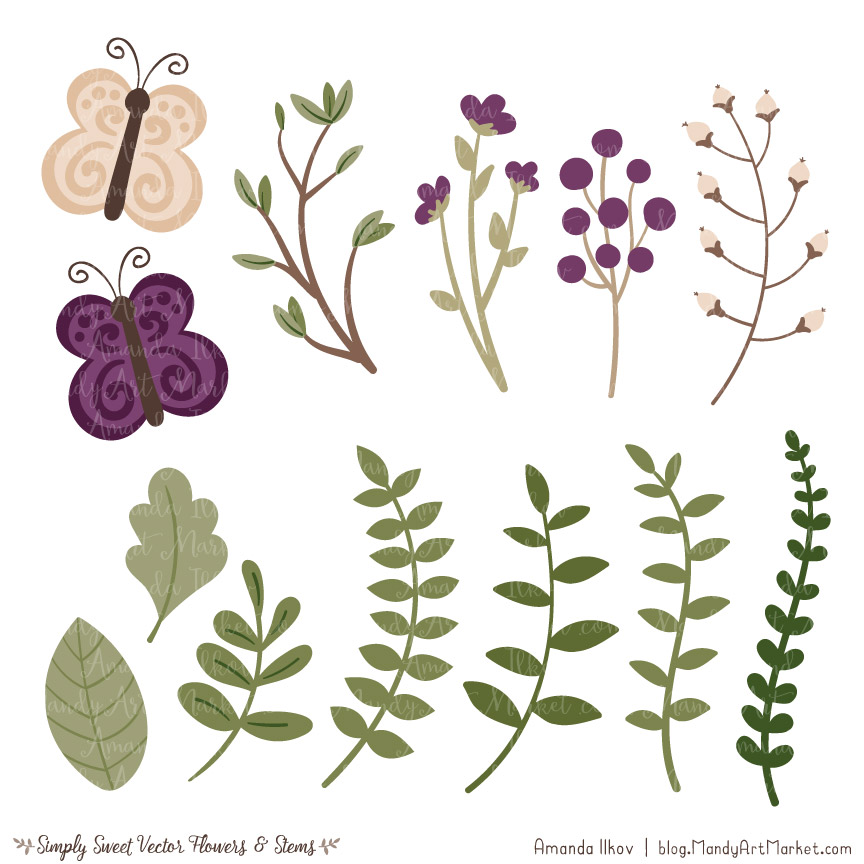 Plum Cute Flower Clipart