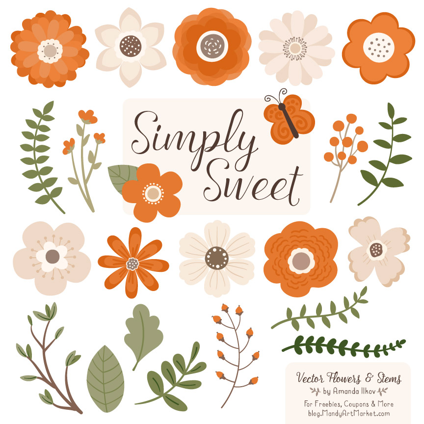Pumpkin Cute Flower Clipart