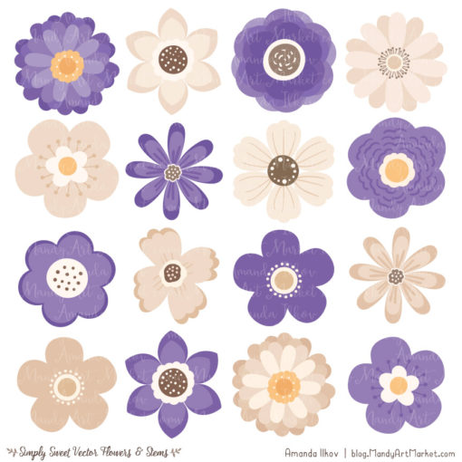 Purple Cute Flower Clipart