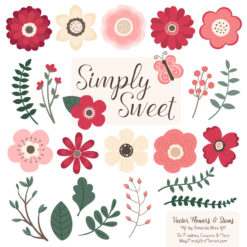 Rose Garden Cute Flower Clipart