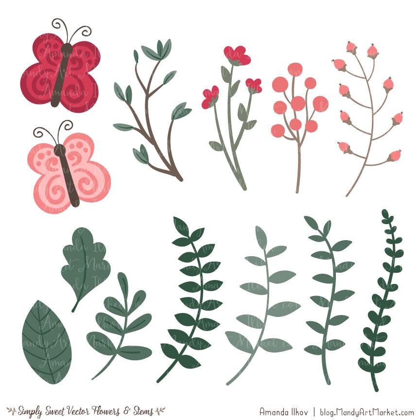 Rose Garden Cute Flower Clipart