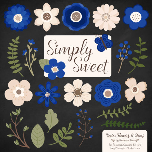 Royal Blue Cute Flower Clipart
