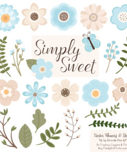 Soft Blue Cute Flower Clipart